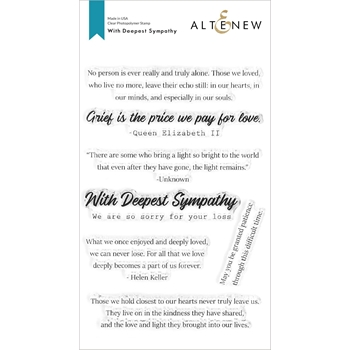 Altenew WITH DEEPEST SYMPATHY Clear Stamps ALT4387