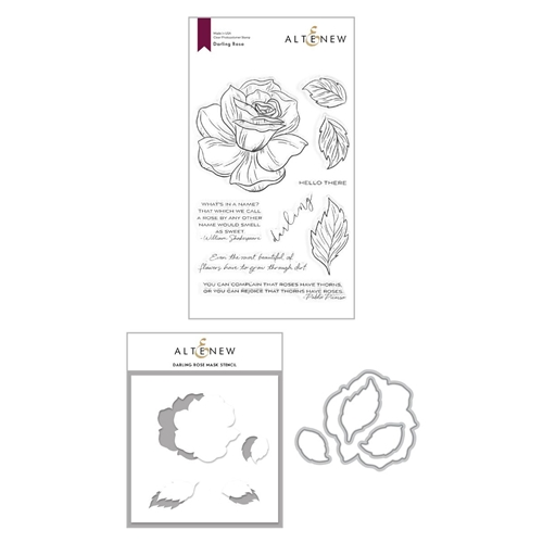 Altenew DARLING ROSE Clear Stamp, Die and Mask Stencil Bundle ALT4378 Preview Image