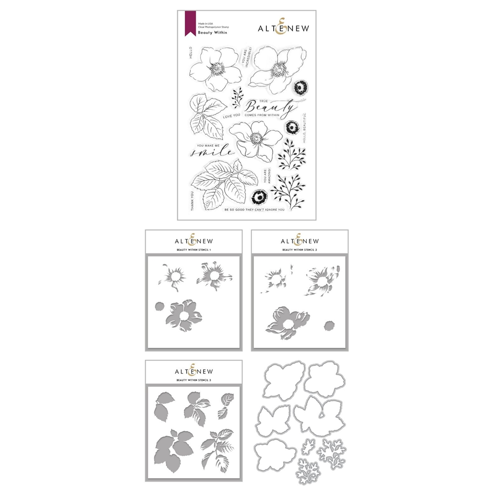 Altenew BEAUTY WITHIN Clear Stamp, Die and Coloring Stencil Bundle ALT4370 zoom image