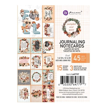 Prima Flowers PUMPKIN AND SPICE 3 X 4 Journaling Notecards 647797*