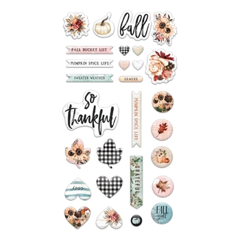 Prima Flowers PUMPKIN AND SPICE Puffy Stickers 647841