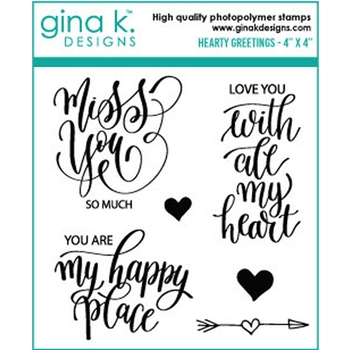 Gina K Designs HEARTY GREETINGS Clear Stamps 6583