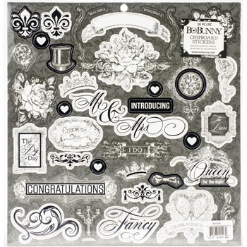 BoBunny TUXEDOS AND TIARAS Chipboard Stickers 7311127