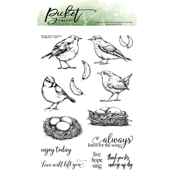 Picket Fence Studios SONGBIRDS Clear Stamps a147