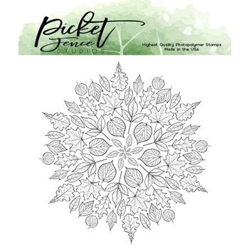 Picket Fence Studios LEAF MANDALA Clear Stamp f140