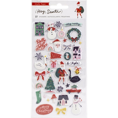 Crate Paper HEY SANTA Puffy Stickers 373218 Preview Image