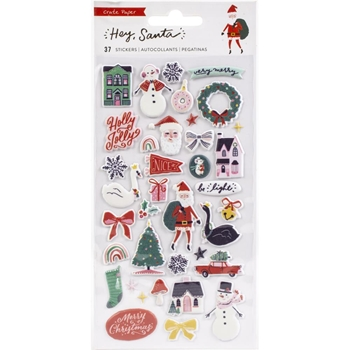 Crate Paper HEY SANTA Puffy Stickers 373218