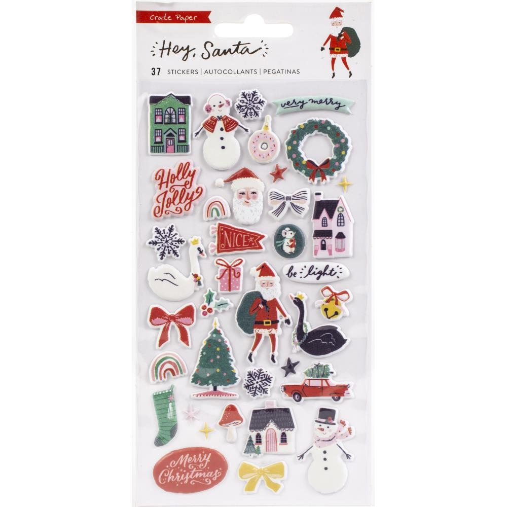 Crate Paper HEY SANTA Puffy Stickers 373218 zoom image