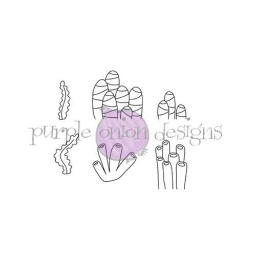 Purple Onion Designs SEAWEED TUBES AND STRIPE CORAL Cling Stamp pod4010* Preview Image