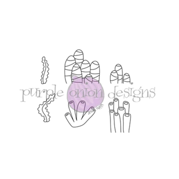 Purple Onion Designs SEAWEED TUBES AND STRIPE CORAL Cling Stamp pod4010*