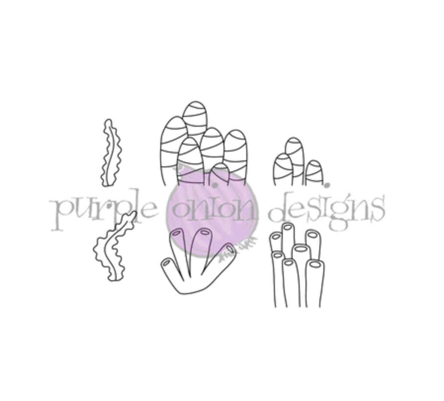 Purple Onion Designs SEAWEED TUBES AND STRIPE CORAL Cling Stamp pod4010* zoom image