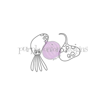 Purple Onion Designs SQUID AND STINGRAY Cling Stamp pod4003*
