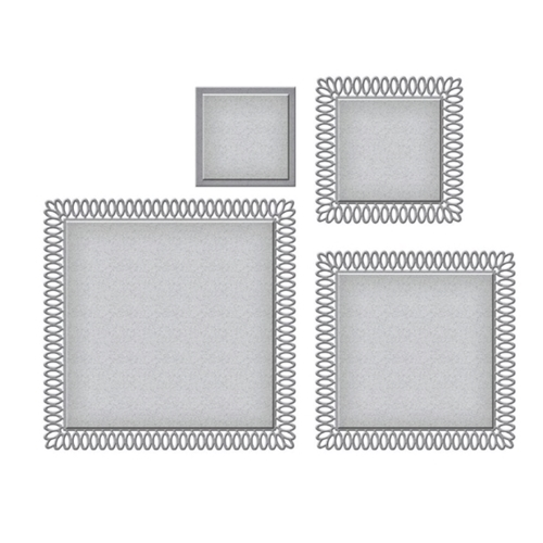 S5-432 Spellbinders PICOT PEITIE SQUARES Etched Dies Preview Image