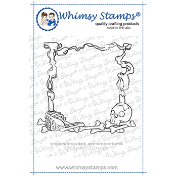 Whimsy Stamps DAY OF THE DEAD FRAME BACKGROUND Cling Stamp DDB0045*