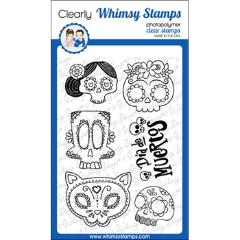 Whimsy Stamps SUGAR SKULLS Clear Stamps CWSD335