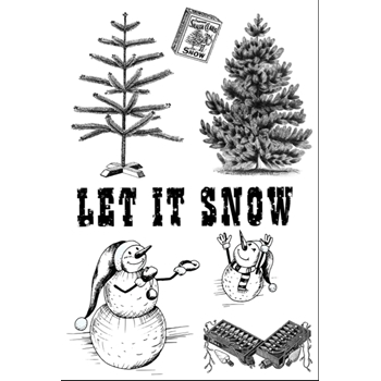 Emerald Creek SNOWMAN'S HOLIDAY Cling Stamps bskb9647