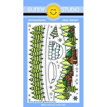 Sunny Studio WINTER SCENES Clear Stamps SSCL-280