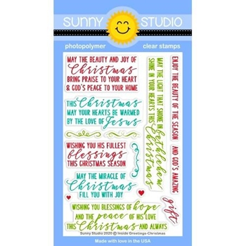 Sunny Studio INSIDE GREETINGS CHRISTMAS Clear Stamps SSCL-272