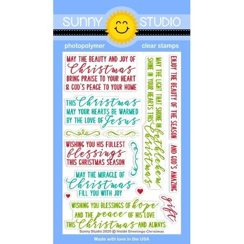 Sunny Studio INSIDE GREETINGS CHRISTMAS Clear Stamps SSCL-272 zoom image