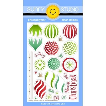 Sunny Studio RETRO ORNAMENTS Clear Stamps SSCL-282