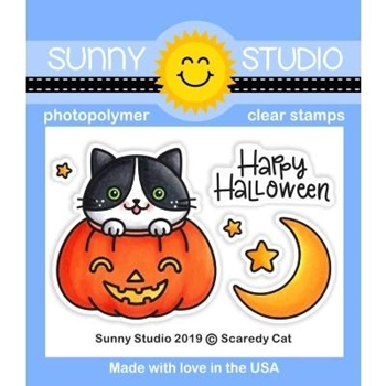 Sunny Studio SCAREDY CAT Clear Stamps SSCL-241