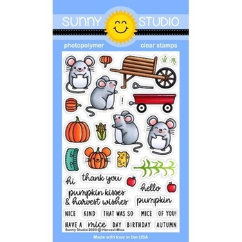 Sunny Studio HARVEST MICE Clear Stamps SSCL-277