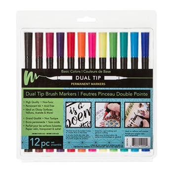 PERMANENT DUAL TIP MARKERS BASIC COLORS 12 Pack 30010730