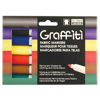Marvy GRAFFITI FABRIC MARKERS PRIMARY 6 ASSORTED COLORS mu5606a