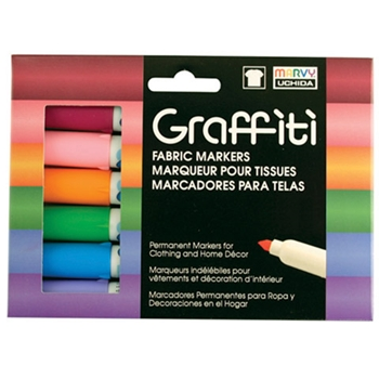 Marvy GRAFFITI FABRIC MARKERS FLORAL 6 ASSORTED COLORS mu560b