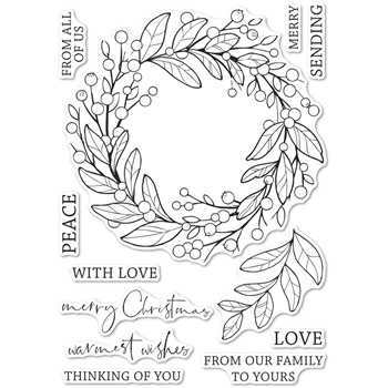 Memory Box Clear Stamps BERRY WREATH Open Studio cl5260
