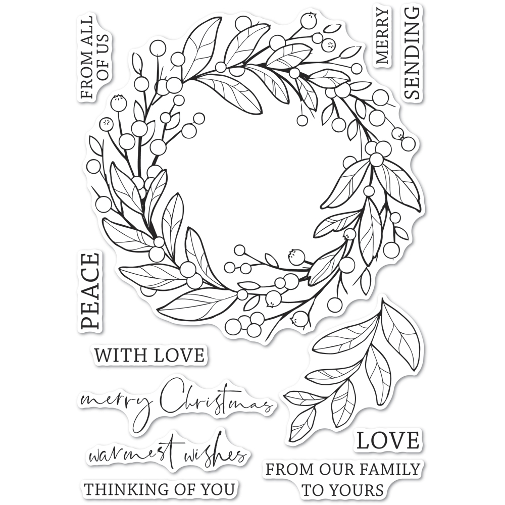 Memory Box Clear Stamps BERRY WREATH Open Studio cl5260 zoom image