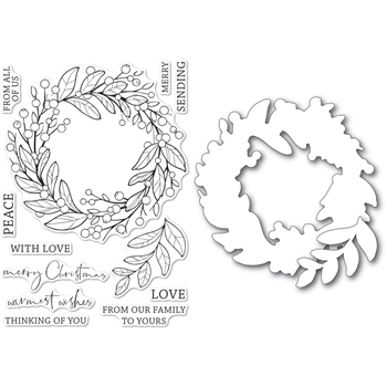 Memory Box BERRY WREATH Open Studio Clear stamp and Die Set cl5260d