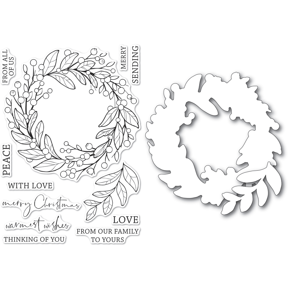 Memory Box BERRY WREATH Open Studio Clear stamp and Die Set cl5260d zoom image