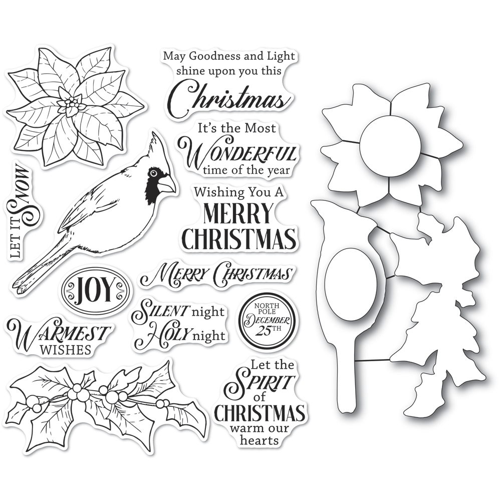 Memory Box SPIRIT OF CHRISTMAS Open Studio Clear stamp and Die Set cl5261d zoom image