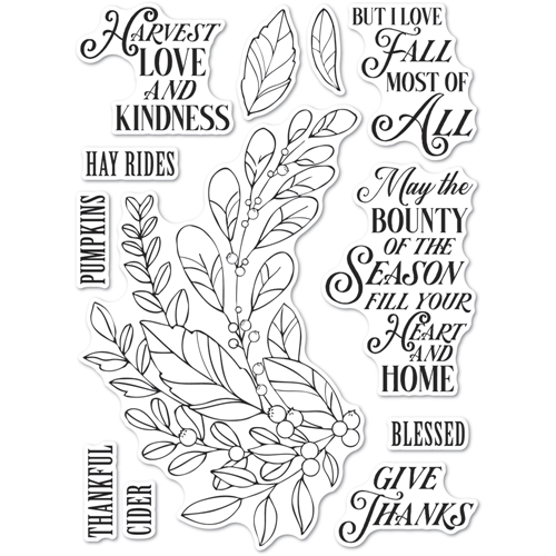 Memory Box Clear Stamps HARVEST LOVE AND KINDNESS Open Studio cl5262 Preview Image