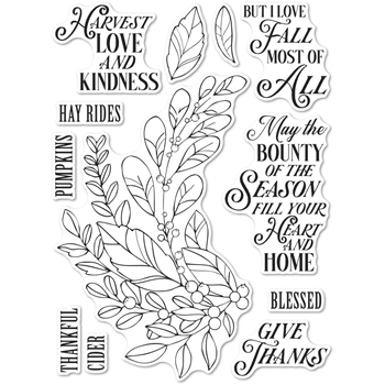 Memory Box Clear Stamps HARVEST LOVE AND KINDNESS Open Studio cl5262
