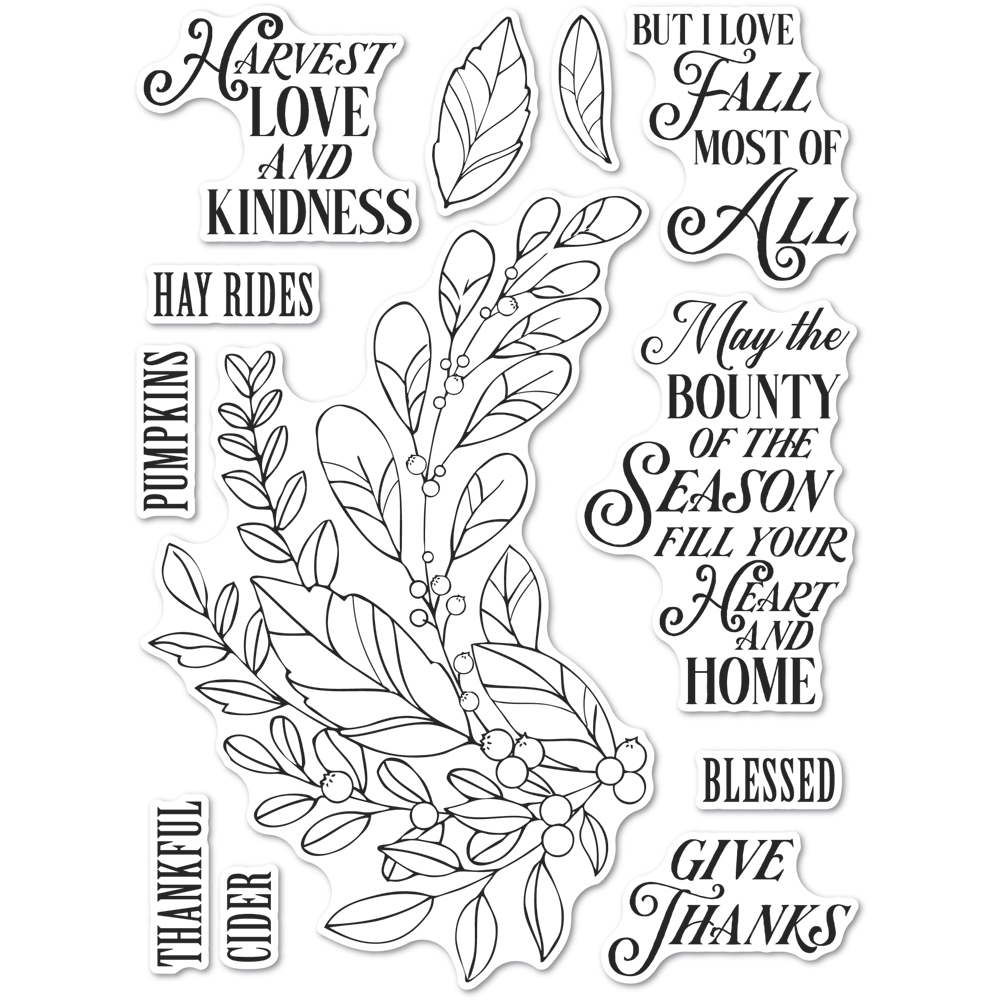 Memory Box Clear Stamps HARVEST LOVE AND KINDNESS Open Studio cl5262 zoom image