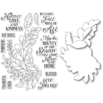 Memory Box HARVEST LOVE AND KINDNESS Open Studio Clear stamp and Die Set cl5262d