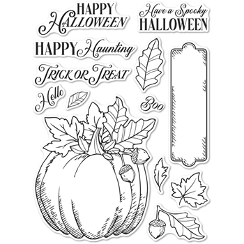 Memory Box Clear Stamps HALLOWEEN PUMPKIN Open Studio cl5264