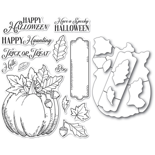 Memory Box HALLOWEEN PUMPKIN Open Studio Clear stamp and Die Set cl5264d Preview Image