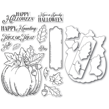 Memory Box HALLOWEEN PUMPKIN Open Studio Clear stamp and Die Set cl5264d