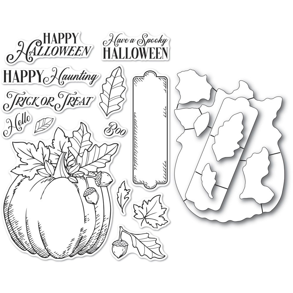 Memory Box HALLOWEEN PUMPKIN Open Studio Clear stamp and Die Set cl5264d zoom image