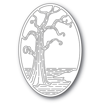 Poppy Stamps TWISTED TREE OVAL Craft Die 2401