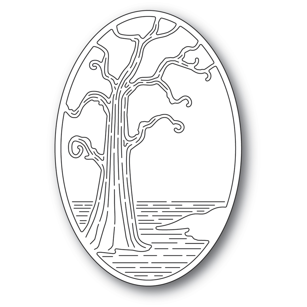 Poppy Stamps TWISTED TREE OVAL Craft Die 2401 zoom image
