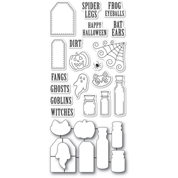 Poppy Stamps HALLOWEEN INGREDIENTS clear stamp and die set CB493