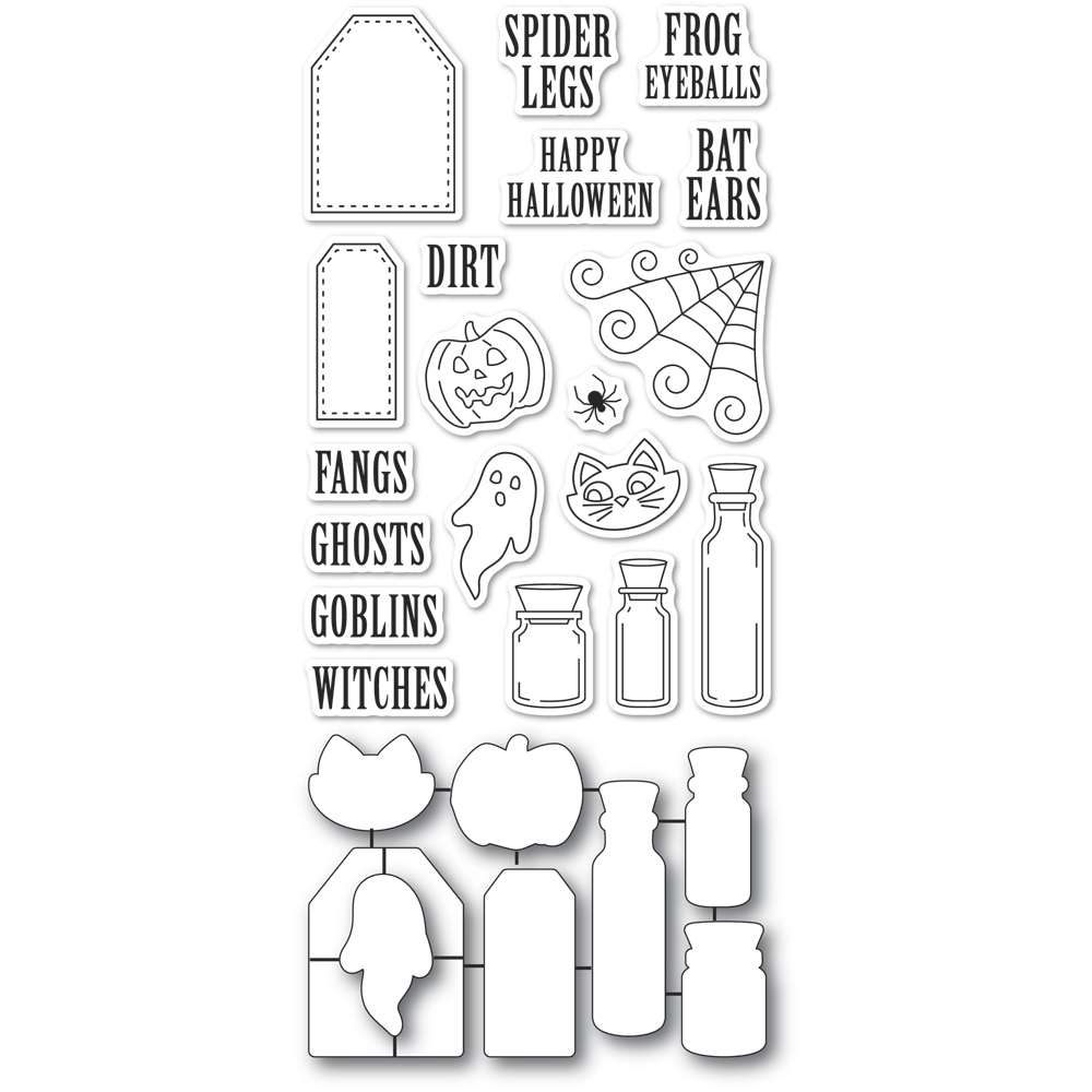 Poppy Stamps HALLOWEEN INGREDIENTS clear stamp and die set CB493 zoom image