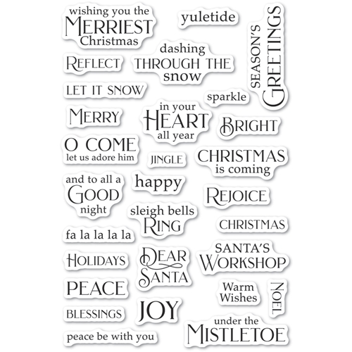 Poppy Stamps Clear Stamps CHRISTMAS GREETINGS cl495 Preview Image