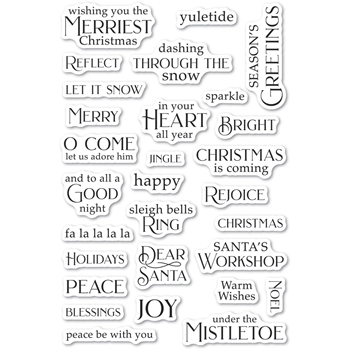 Poppy Stamps Clear Stamps CHRISTMAS GREETINGS cl495