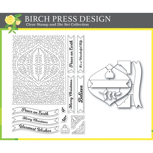 Birch Press Design CHRISTMAS ORNAMENT AND LABELS Clear stamps and Die Set 8154 Preview Image