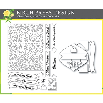 Birch Press Design CHRISTMAS ORNAMENT AND LABELS Clear stamps and Die Set 8154